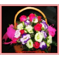 Pink Roses, Purple Eustoma,White Eustoma and Baby's Breath with Ribbon